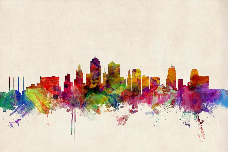 Watercolour Digital Art - Kansas City Skyline by Michael Tompsett