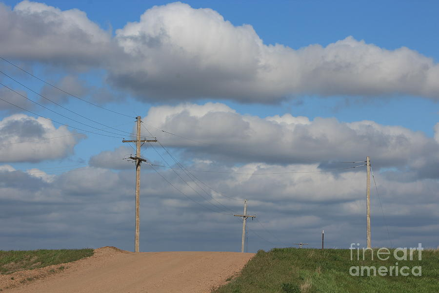 Kansas Photograph - Kansas Country Road With Sky by Robert D  Brozek