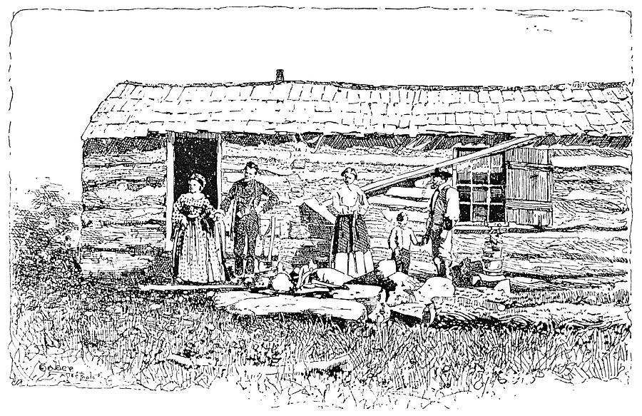 1854 Painting - Kansas Early House, 1854 by Granger