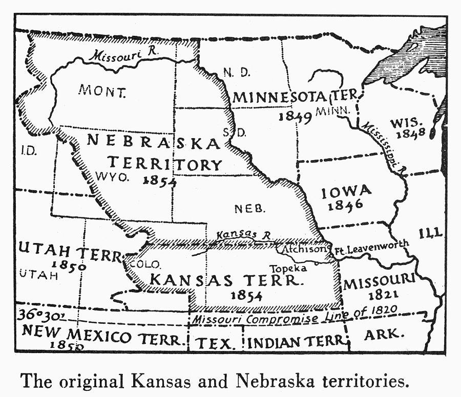 Kansas Nebraska Map 1854 Painting By Granger