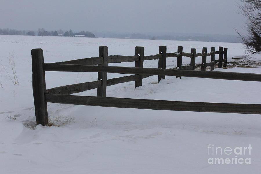 Kansas Photograph - Kansas Snowy Wooden Fence by Robert D  Brozek