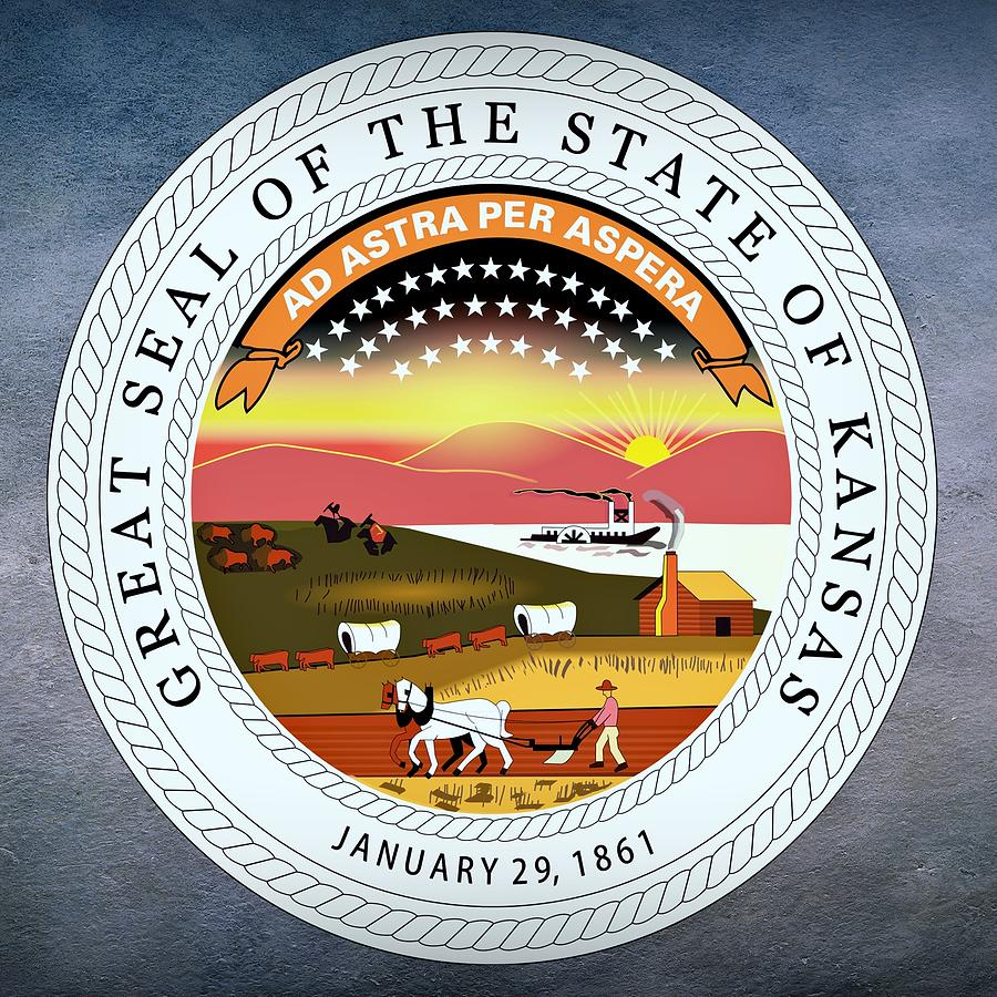 Kansas Digital Art - Kansas State Seal by Movie Poster Prints