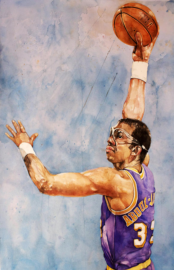 Lakers Painting - Kareem Abdul Jabbar by Michael  Pattison