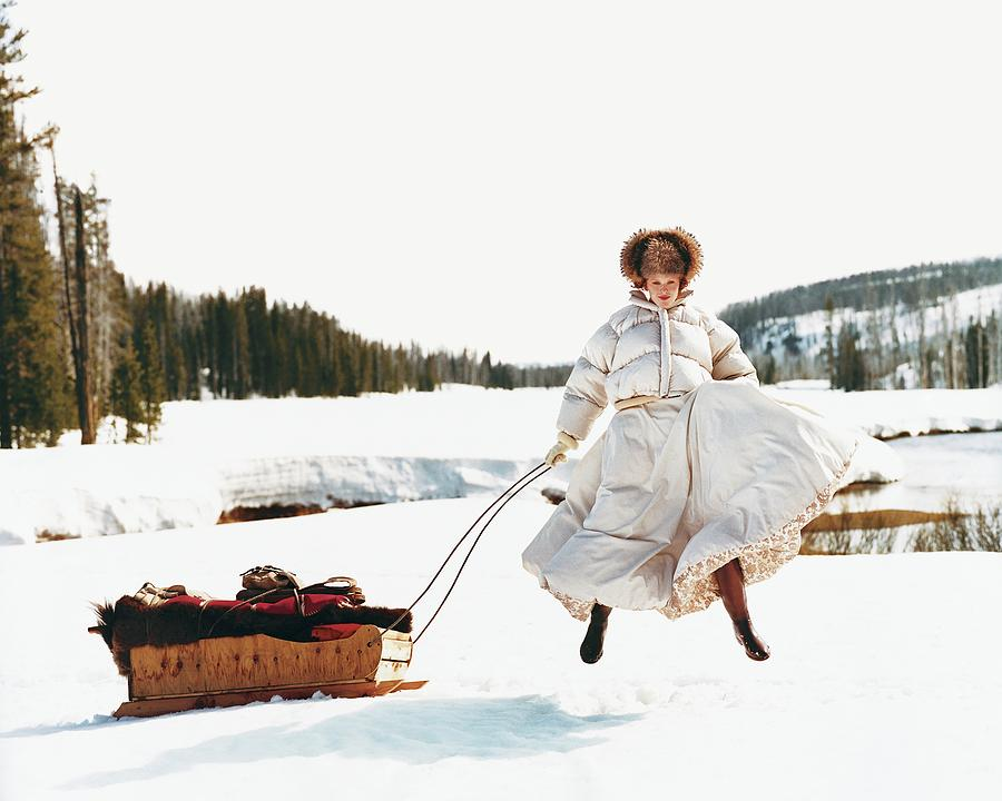 Karen Elson In The Snow Photograph by Arthur Elgort