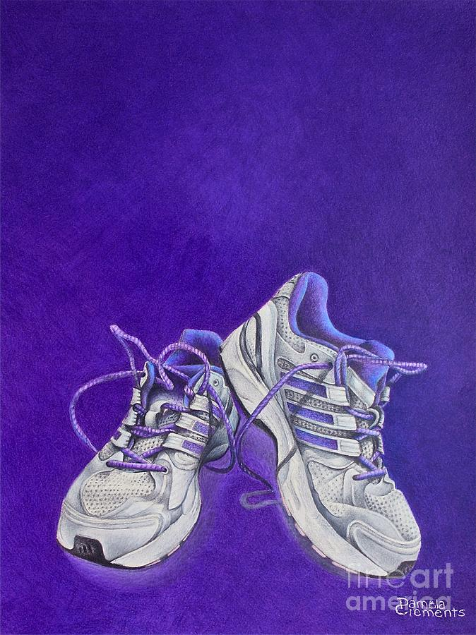 Running Painting - Karens Shoes by Pamela Clements