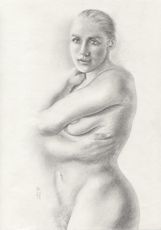 Female Nude Drawing - Kari Newly Pregnant Daydreaming by Scott Kirkman