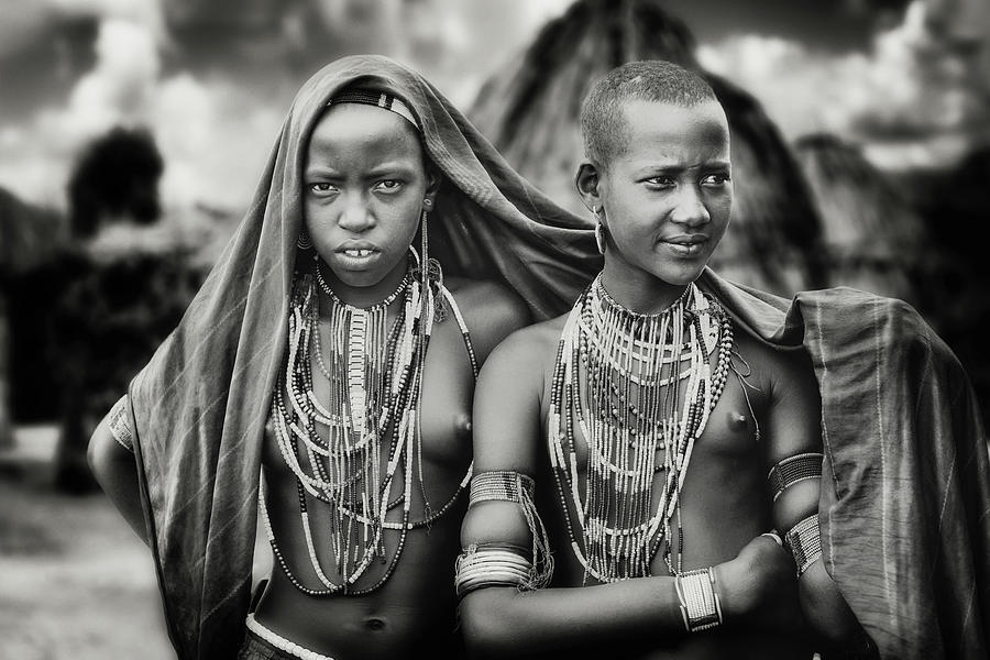 People Photograph - Karo Girls Sharing A Scarf by Piet Flour
