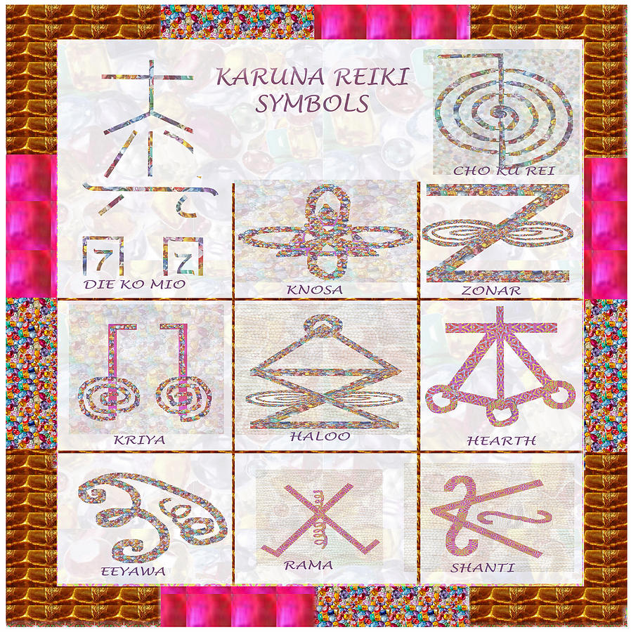 Karuna Reiki Healing Power Symbols Artwork With Crystal Borders By