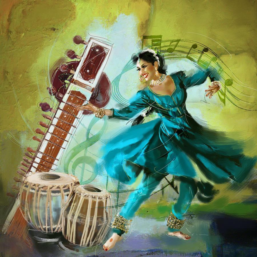 Indian Musical Instruments Tabla Kathak Dancer 4 Painti...