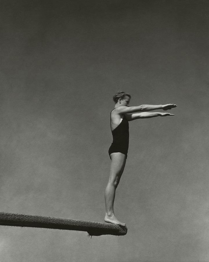 Katherine Rawls Getting Ready To Dive Photograph by Edward Steichen