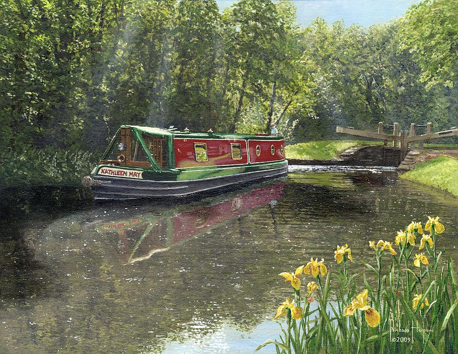 Landscape Painting - Kathleen May Chesterfield Canal Nottinghamshire by Richard Harpum