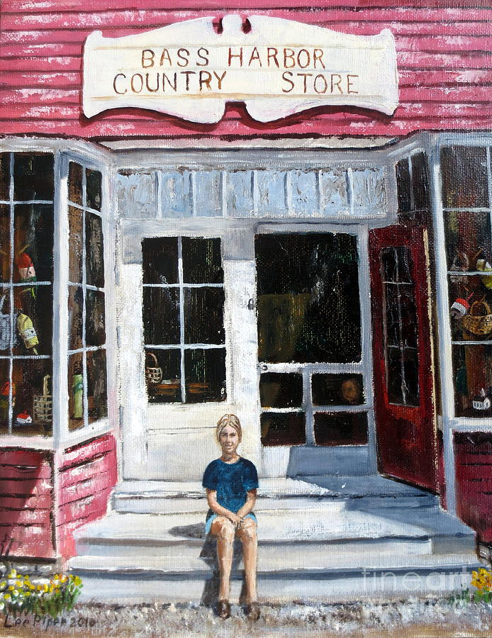 Bass Harbor Store Painting - Katie At Bass Harbor Maine by Lee Piper