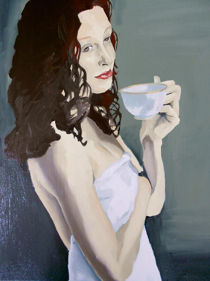 Oil On Canvas Painting - Katie - Morning Cup Of Tea by Stephen Panoushek