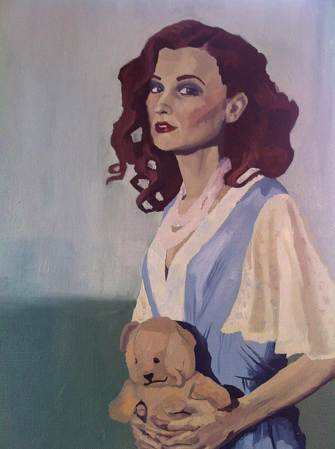 Portrait Painting - Katie - Teddy Bear by Stephen Panoushek