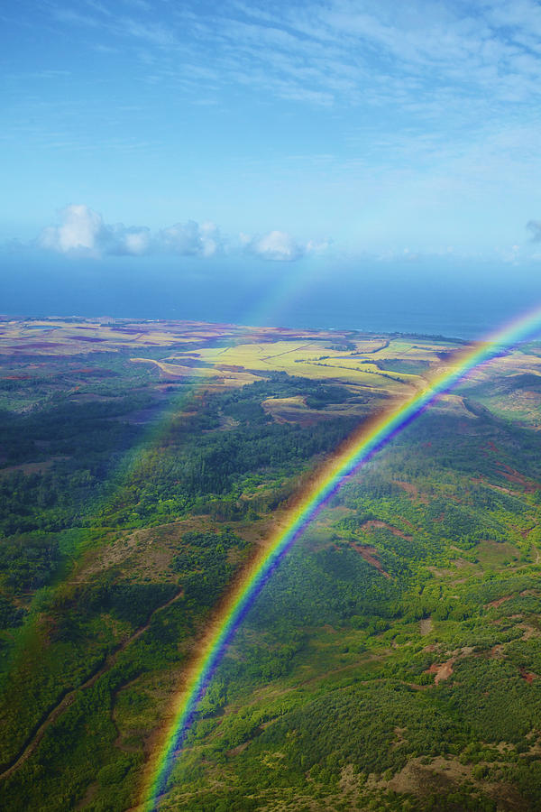 Aerial Photograph - Kauai Double Rainbow by Kicka Witte