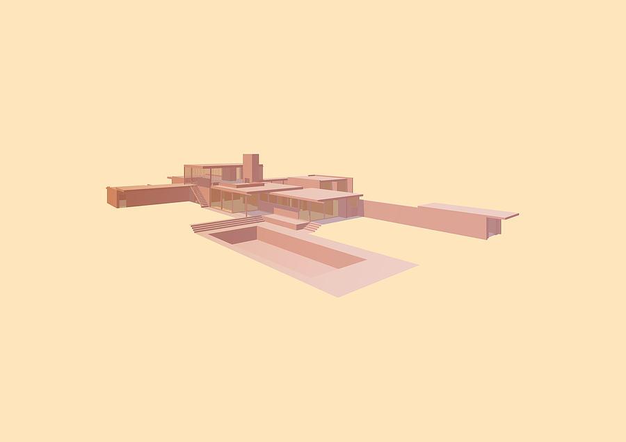 Architecture Digital Art - Kaufmann House - Richard Neutra by Peter Cassidy