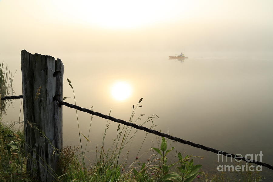 Sunrise Photograph - Kayak Anglers Sunrise by Brenda Schwartz