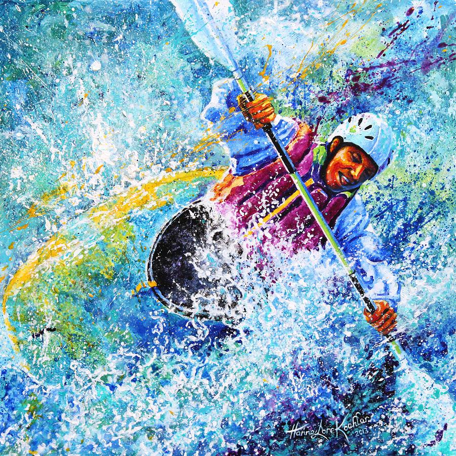 Sports Art Painting - Kayak Crush by Hanne Lore Koehler