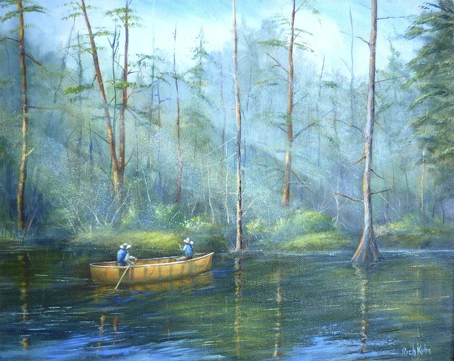 Kayak Rays Painting by Rich Kuhn