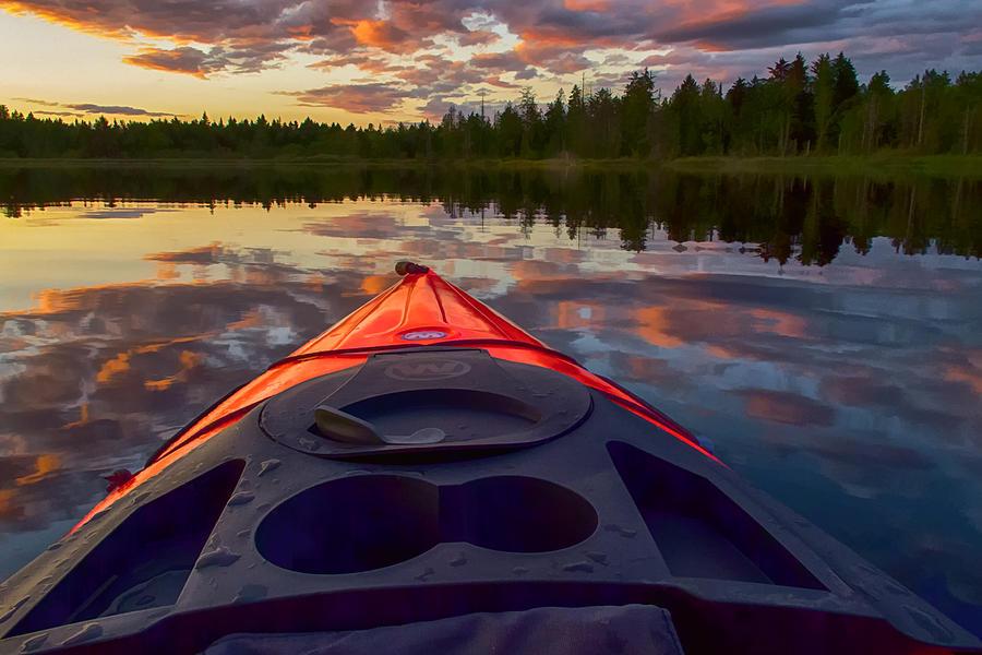 Kayak Photograph - Kayak Sunset by Ray Still