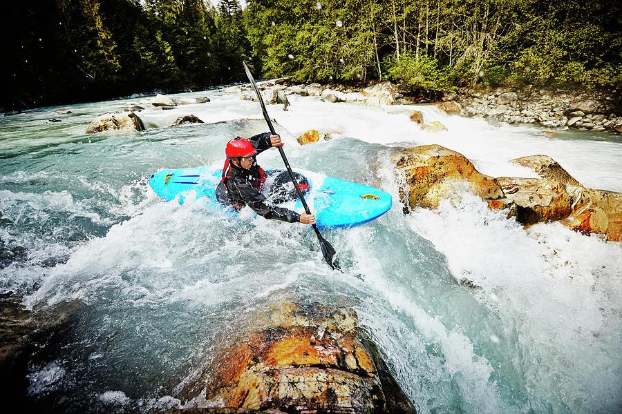 Kayaker Entering White Water Rapids Photograph by Thomas Barwick