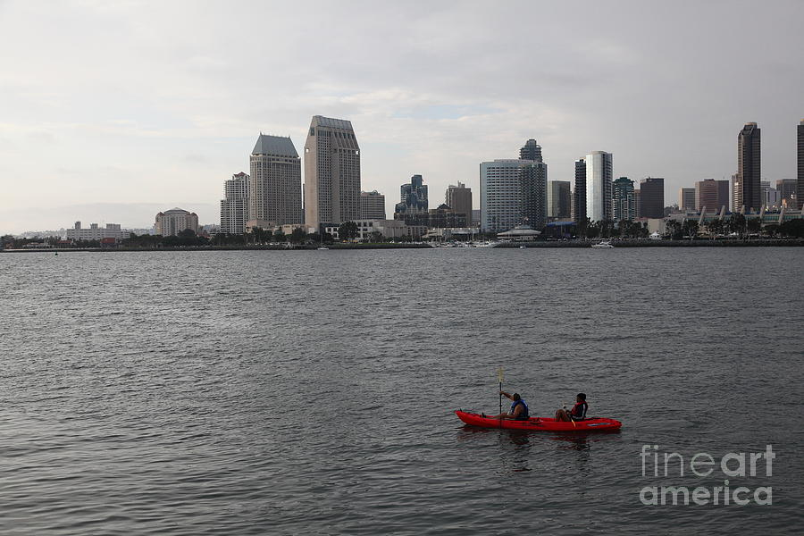 San Diego Photograph - Kayaking Along The San Diego Harbor Overlooking The San Diego Skyline 5d24376 by Wingsdomain Art and Photography