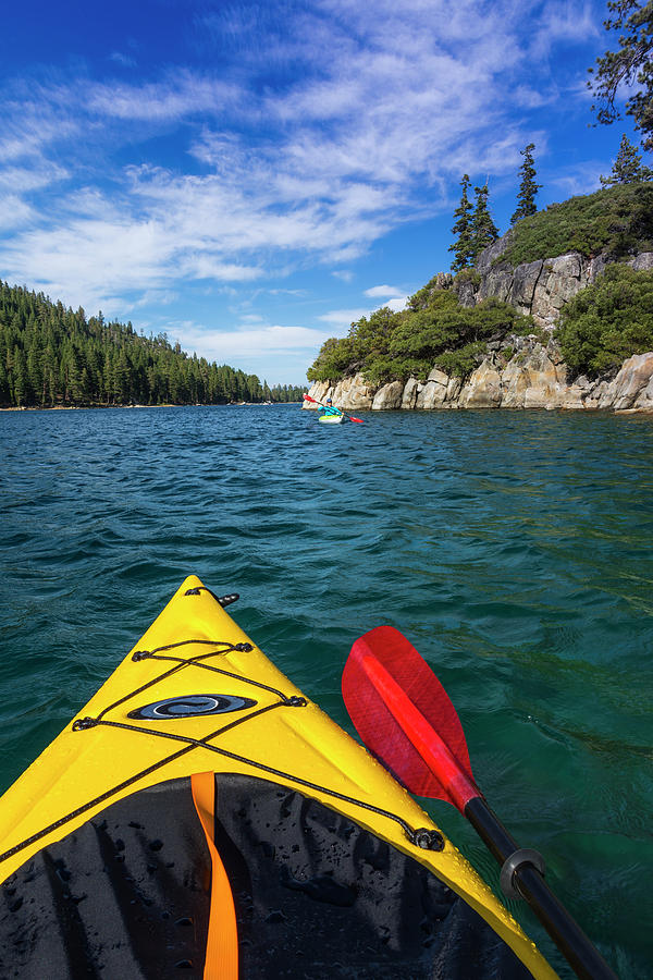 Active Photograph - Kayaking In Emerald Bay At Fannette by Russ Bishop