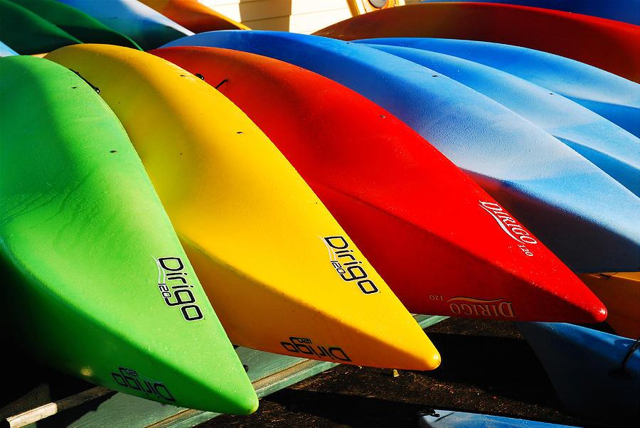 Kayaks Photograph - Kayaks Await by James Kirkikis