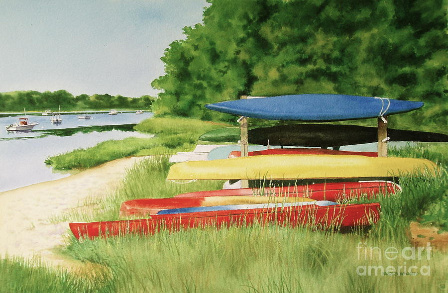 Bass River Painting - Kayaks In Limbo by Karol Wyckoff