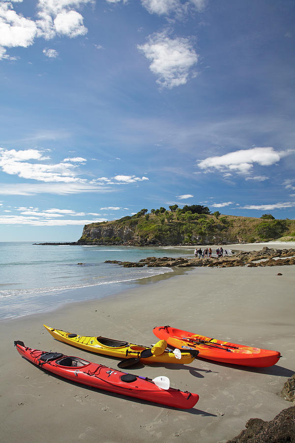 Adventure Photograph - Kayaks On Beach Near Doctors Point by David Wall