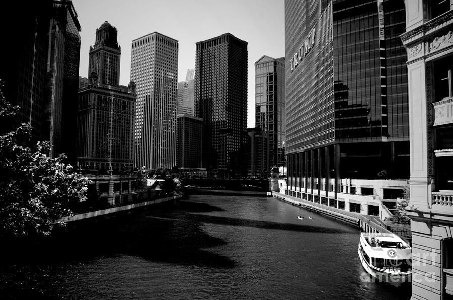 Kayaks On The Chicago River - Black Photograph