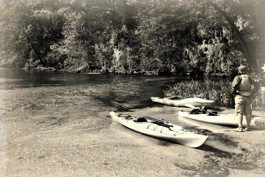 Black And White Photograph - Kayaks On The Current by Marty Koch