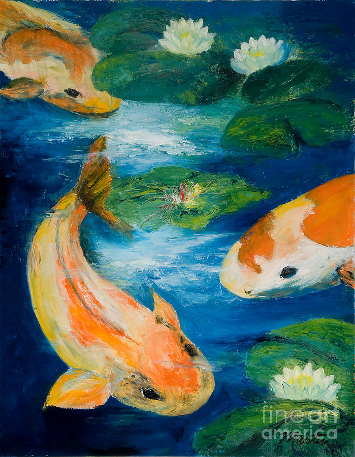 Japanese Painting - Kays Koi by Larry Martin