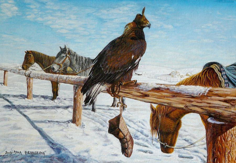 Kazachstan Painting - Kazachstan by Anna Franceova