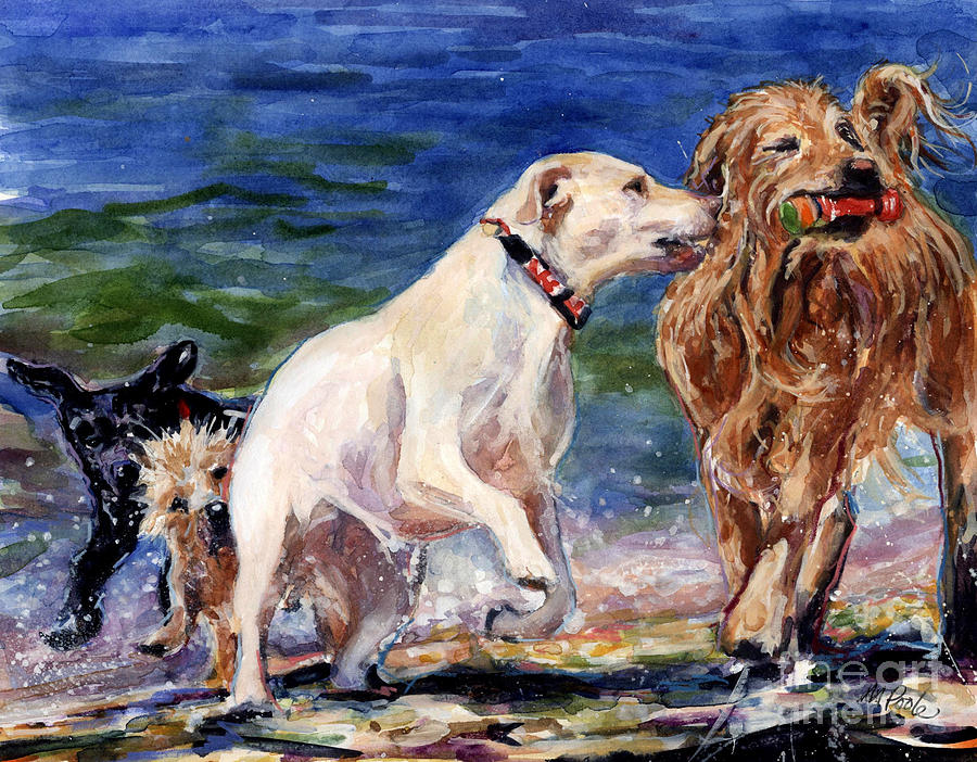 Yellow Labrador Retriever Painting - Keep Away by Molly Poole