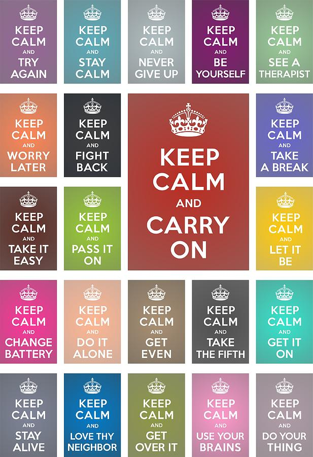 Whimsical Digital Art - Keep Calm Classic Collage by Helena Kay