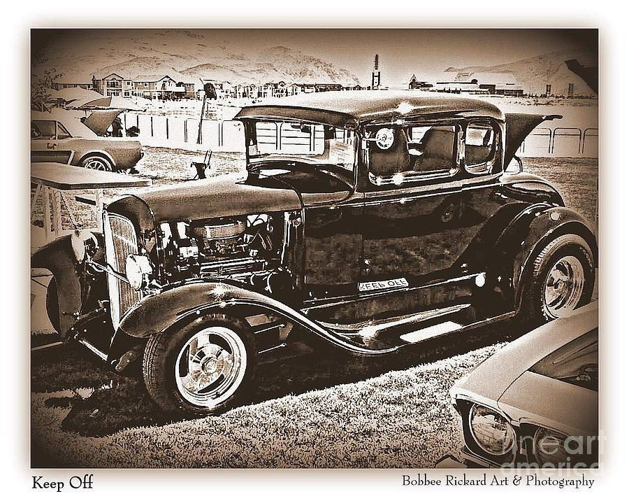 Black And White Print Photograph - Keep Off My Car by Bobbee Rickard