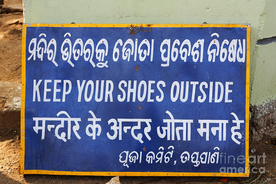 Keep Photograph - Keep Your Shoes Outside Notice India by Robert Preston
