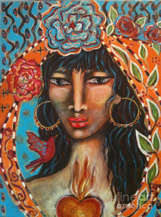 Sacred Art Painting - Keeper Of The Flame by Maya Telford