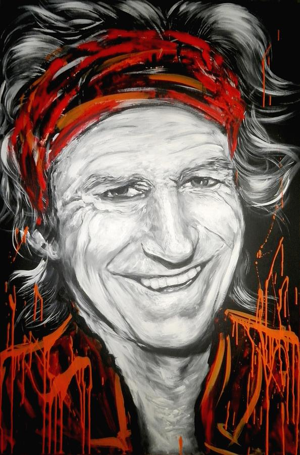 Rock Paintings Painting - Keith Richards by Tamara Vogrin Tara
