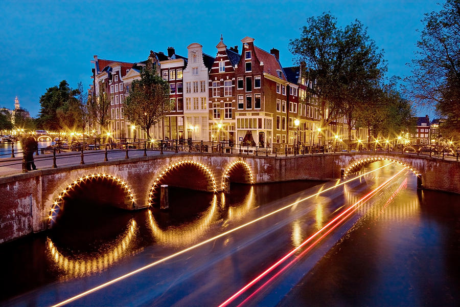 Keizersgracht Canal at Night / Amsterdam by Barry O Carroll