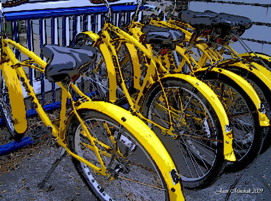 Ohio Digital Art - Kelley Island Bikes by Joan  Minchak