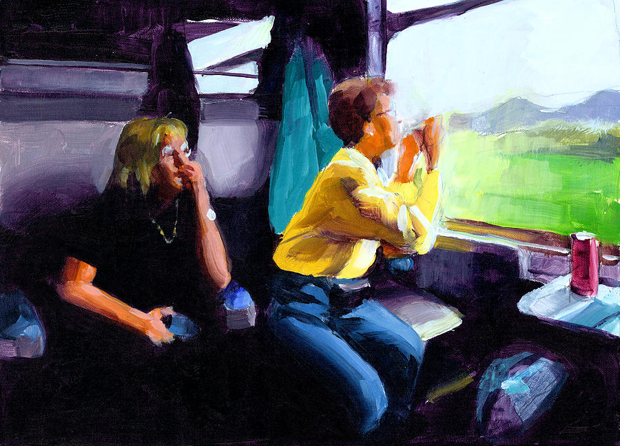 Travel Painting - Kelly And Pj In The Austrian Alps by Douglas Simonson