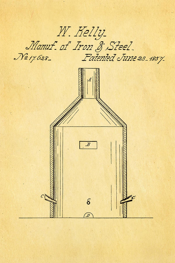 Engineer Photograph - Kelly Iron And Steel Patent Art 1857 by Ian Monk