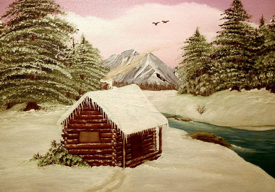 Log Cabin Painting - Kellys Retreat by Sheri Keith
