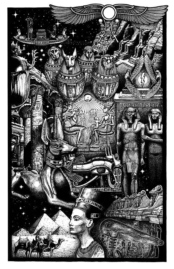 Egypt Drawing - Kemitology by Matthew Ridgway