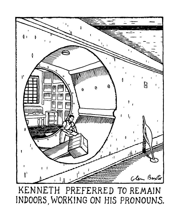 Kenneth Preferred To Remain Indoors Drawing by Glen Baxter