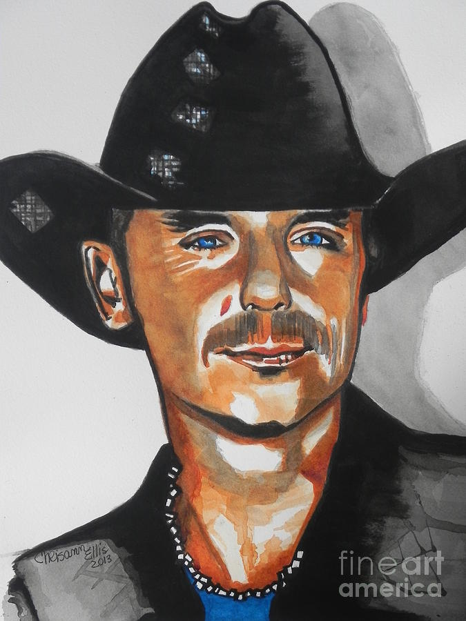 Watercolor Painting Painting - Kenny Chesney  02 by Chrisann Ellis