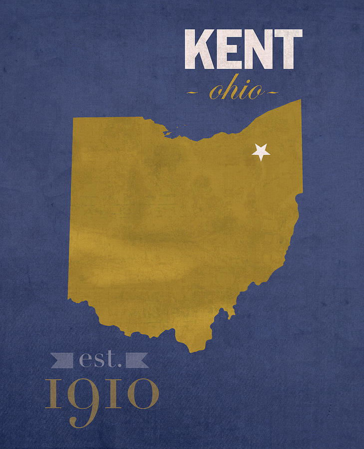 Kent State University Golden Flashes Kent Ohio College Town State Map on
