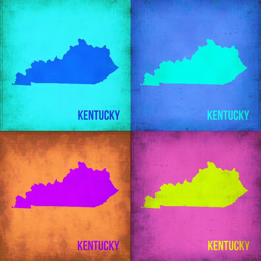 Kentucky Map Painting - Kentucky Pop Art Map 1 by Naxart Studio